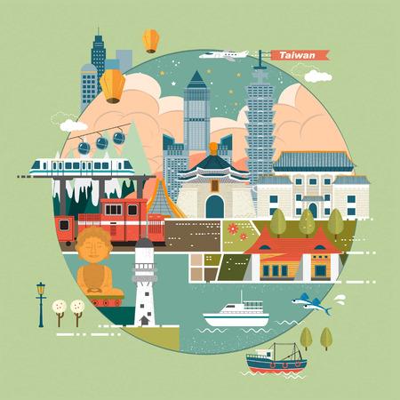 Adorable ilustración concepto de viaje Taiwán en diseño plano Foto de archivo - 46942383