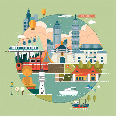 taiwan scenery: adorable Taiwan travel concept illustration in flat design Illustration