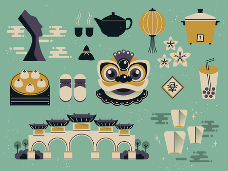 taiwan scenery: lovely Taiwan culture collections in flat design