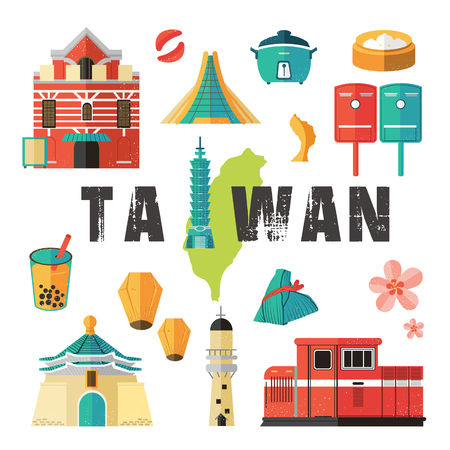 bao: Taiwan travel concept - landmarks and dishes collection in flat design