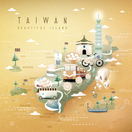 taiwan: fantastic Taiwan attractions and dishes travel map in 3d isometric style