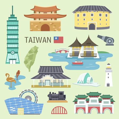 tren caricatura: bella colección atracciones Taiwán en diseño plano Vectores