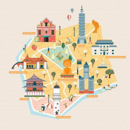 reisconcept Taiwan - monumenten in platte design stijl