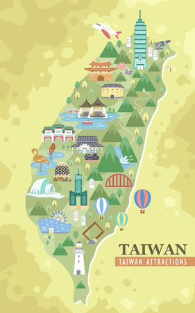 lovely Taiwan attractions travel map in flat design Vectores
