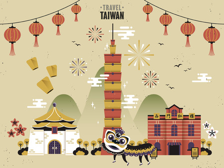 chinese new year dragon: Taiwan cultural travel concept in flat design Illustration