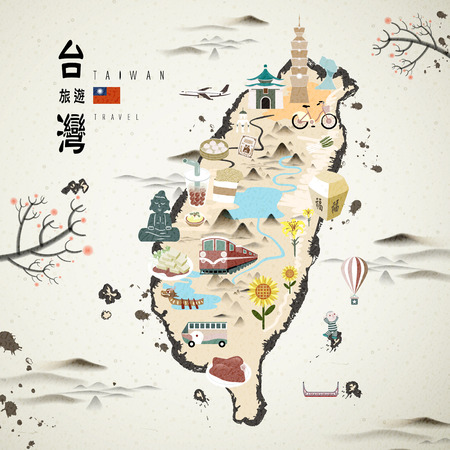 taiwan scenery: Taiwan famous attractions travel map in ink style