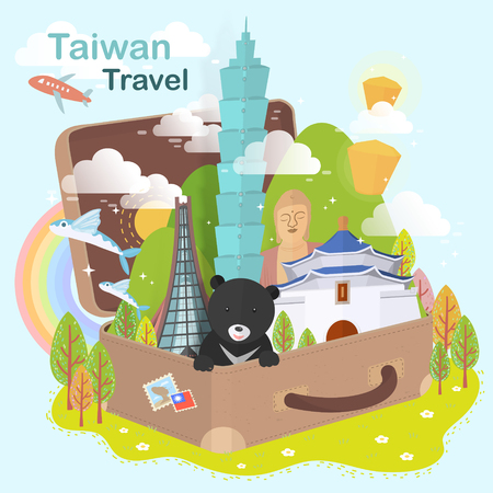 fantastic Taiwan attractions design - landmarks in the suitcase Фото со стока - 46942397
