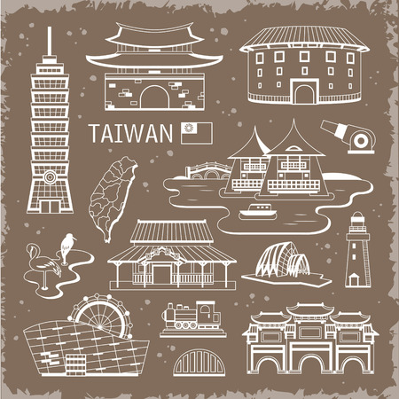taiwan: lovely Taiwan attractions collection in thin line style