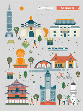 Taiwan travel concept - landmarks collection in flat design Illustration
