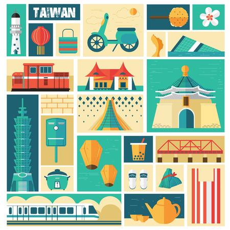 tren caricatura: Concepto de viaje Taiw�n - hitos y platos de colecci�n en estilo sello Vectores