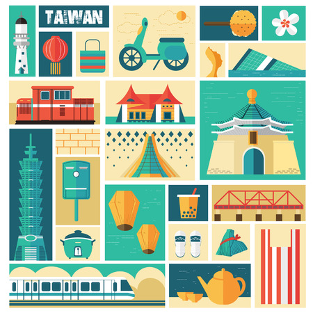 Taiwan travel concept - landmarks and dishes collection in stamp style 矢量图像