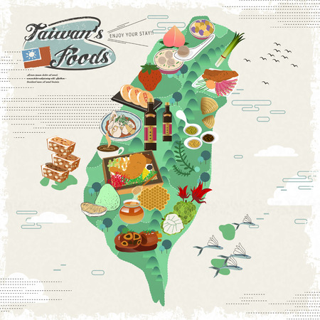 taiwan scenery: delicious Taiwan snacks travel map in flat design