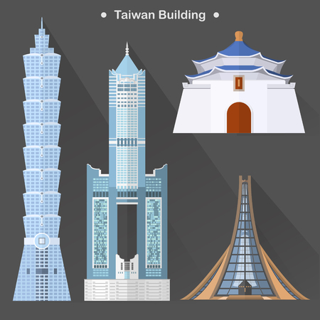 taiwan scenery: exquisite Taiwan architecture collection in flat design Illustration
