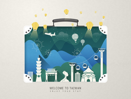 maleta: fantásticas atracciones diseño de Taiwán - hitos en la maleta Vectores