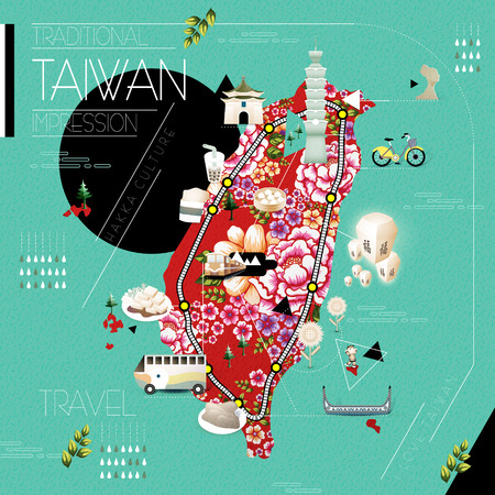taiwan scenery: Taiwan attractions and dishes travel map with hakka printed cloth