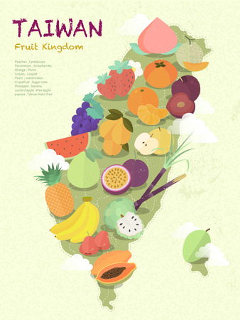 taiwan scenery: adorable Taiwan fruit kingdom map in flat design Illustration