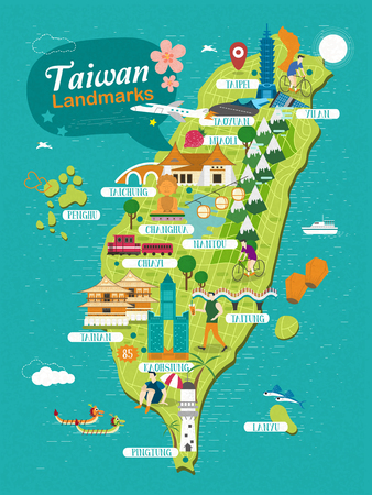taiwan: Taiwan landmarks travel map in flat design Illustration