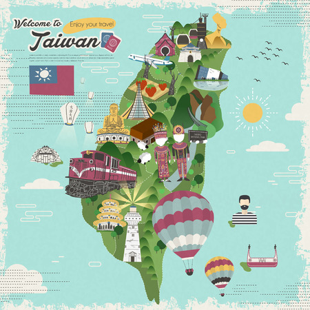 taiwan: colorful Taiwan attractions and dishes travel map in flat design