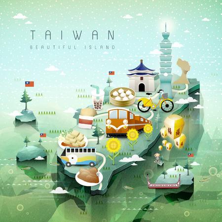 travel: fantastický Taiwan atrakcí a nádobí cestovní mapa v 3d izometrickém stylu