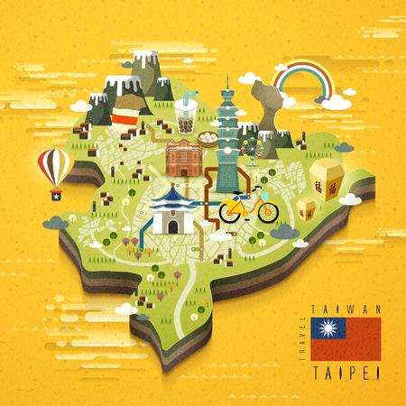 Taipei beroemde bezienswaardigheden reizen kaart in plat design