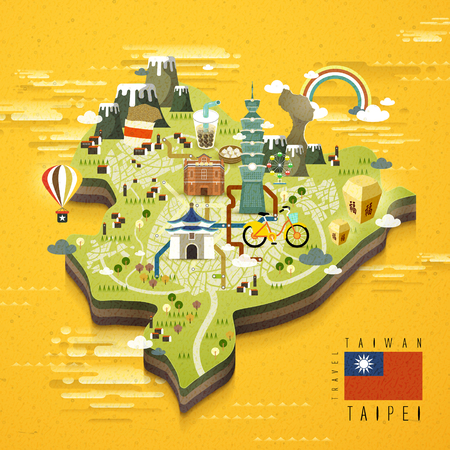 taiwan scenery: Taipei famous attractions travel map in flat design
