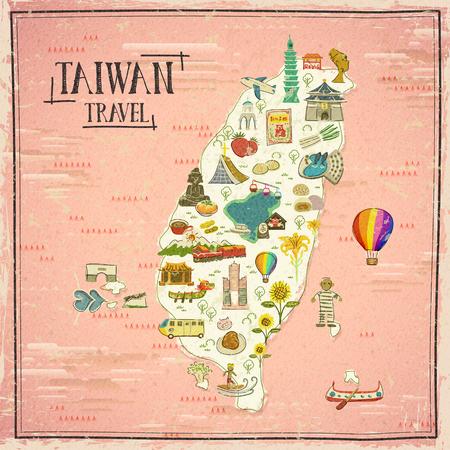 De reiskaart van Taiwan in hand getrokken stijl