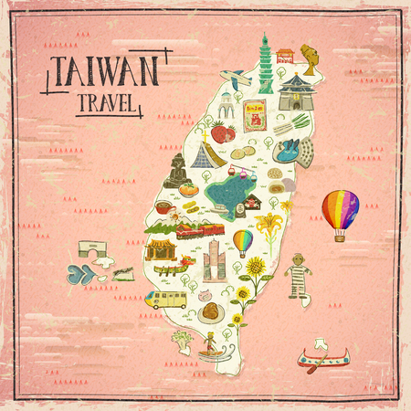 taiwan scenery: Taiwan travel map in hand drawn style