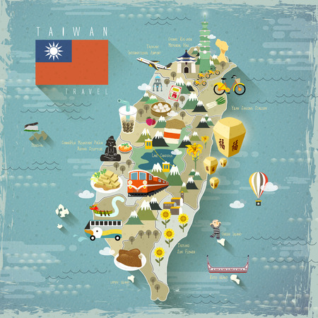 taiwan scenery: Taiwan famous attractions travel map in flat design