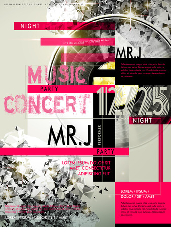 poster design: trendy music party poster design template with geometric elements