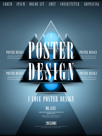 modern movie poster design template with geometric elements Illustration