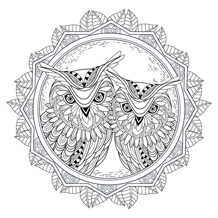 owl family: lovely owl couple coloring page in exquisite style Illustration