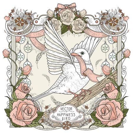 rosas blancas: diseño de páginas para colorear pájaro alegre en estilo exquisito