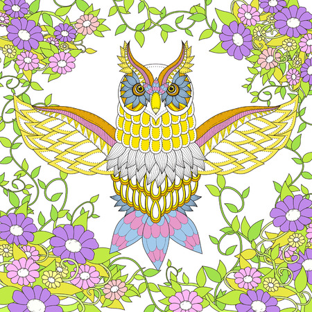 exquisite: beautiful owl coloring page design in exquisite style