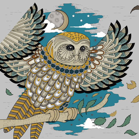 owl tattoo: lovely owl coloring page design in exquisite style