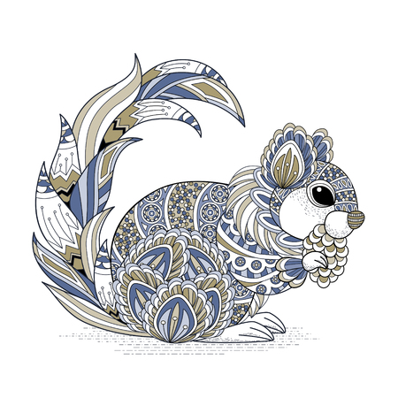 lovely squirrel coloring page in exquisite style 向量圖像