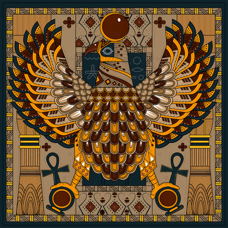 egypt: elegant eagle coloring page in Egypt style