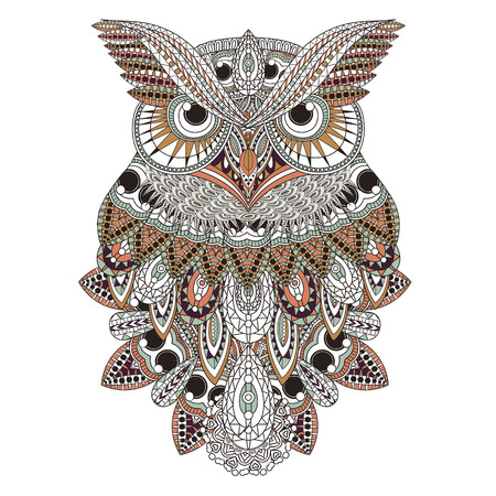 totem: gorgeous owl coloring page design in exquisite style