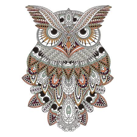 sowa: wspaniały projekt sowa farbowanie strony w przepięknym stylu Ilustracja