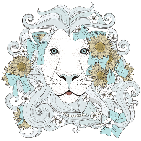 lovely lion with flowers coloring page in exquisite style Ilustração