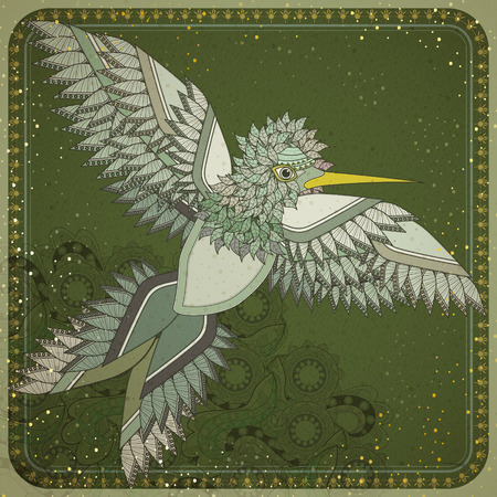 exquisite: elegant flying bird coloring page design in exquisite style