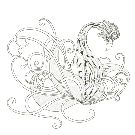 floral elements: elegant swan coloring page design in exquisite style Illustration
