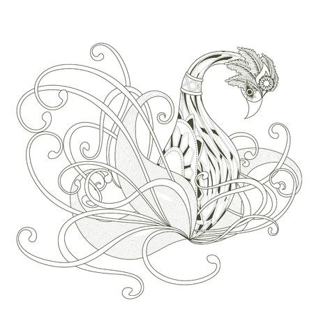 cisnes: elegante diseño de páginas para colorear cisne en un estilo exquisito