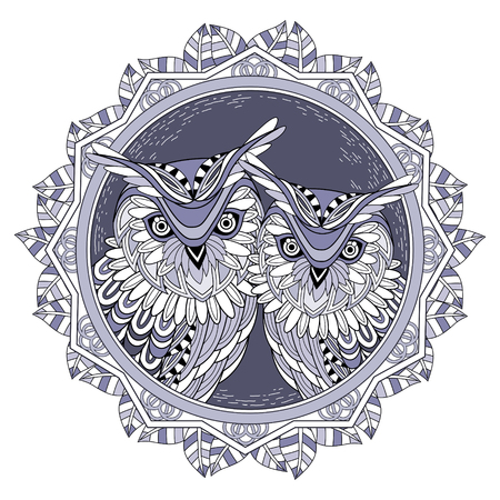 lovely owl couple coloring page in exquisite style Illustration