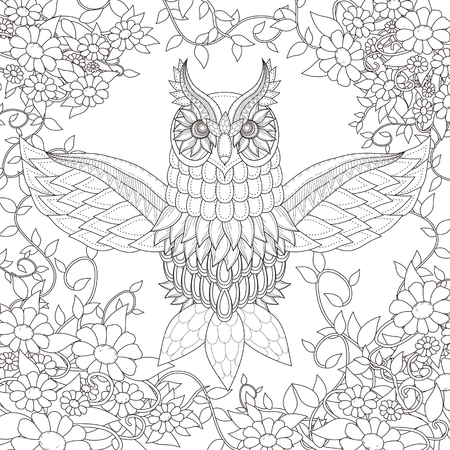 wild flowers: beautiful owl coloring page design in exquisite style