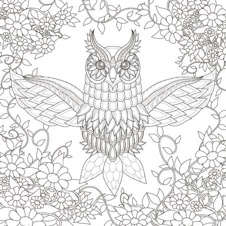 dibujos para colorear: diseño hermoso para colorear búho en un estilo exquisito