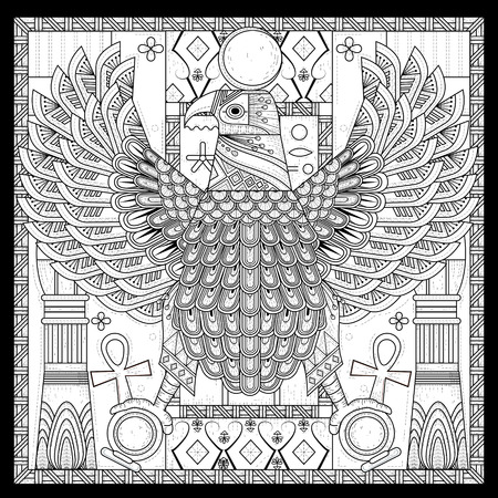 tattoo wings: elegant eagle coloring page in Egypt style