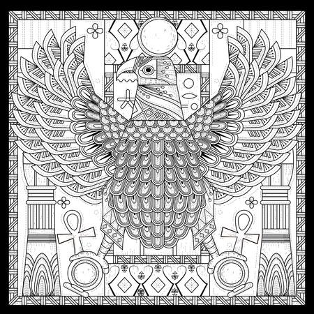 Lgante page à colorier aigle dans le style Egypte Banque d'images - 46942920