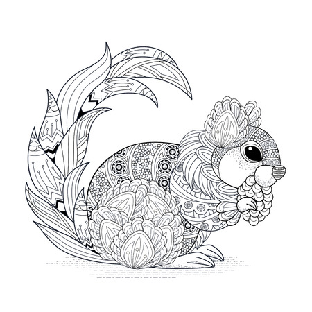 adults: lovely squirrel coloring page in exquisite style Illustration