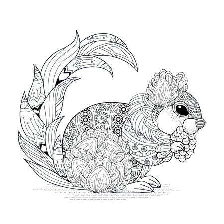 dibujos para colorear: página preciosa colorear ardilla en un estilo exquisito Vectores
