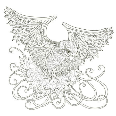 adults: elegant flying bird coloring page design in exquisite style